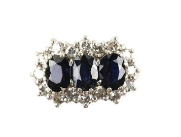 1970's sapphire and diamond dress ring, set with t