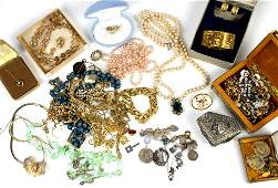 A large selection of costume jewellery including a