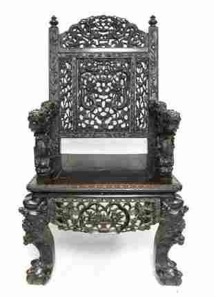 Early 20th century Chinese hardwood throne chair e