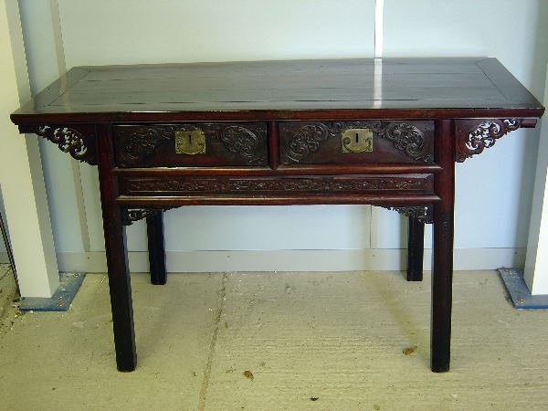 7: Chinese hardwood altar table with two drawers with c