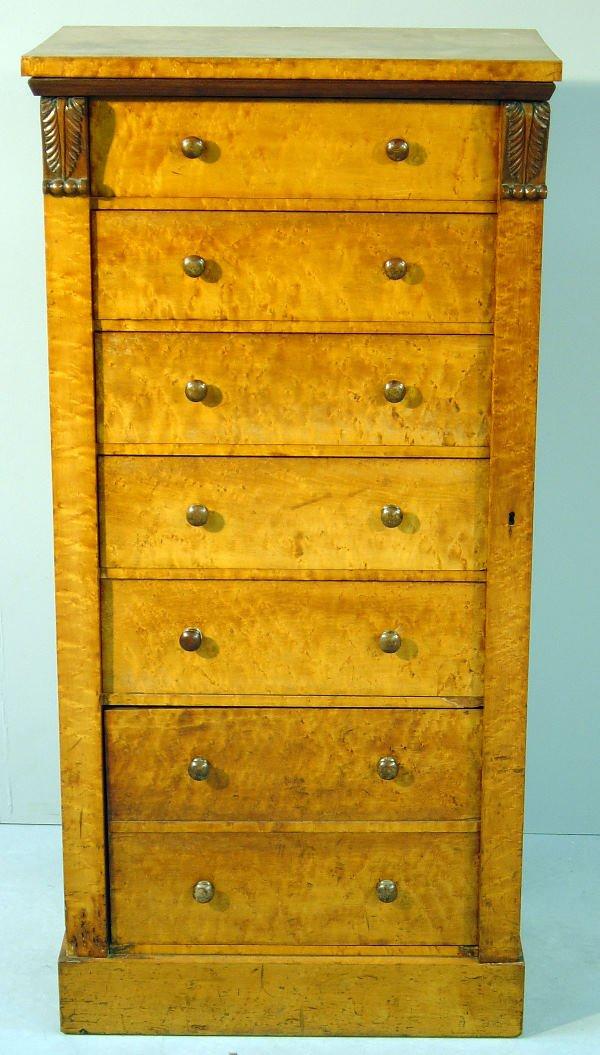 13: 19th century burr walnut Wellington chest of six dr