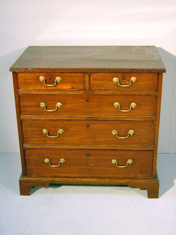 16: George III mahogany straight front chest of two sho