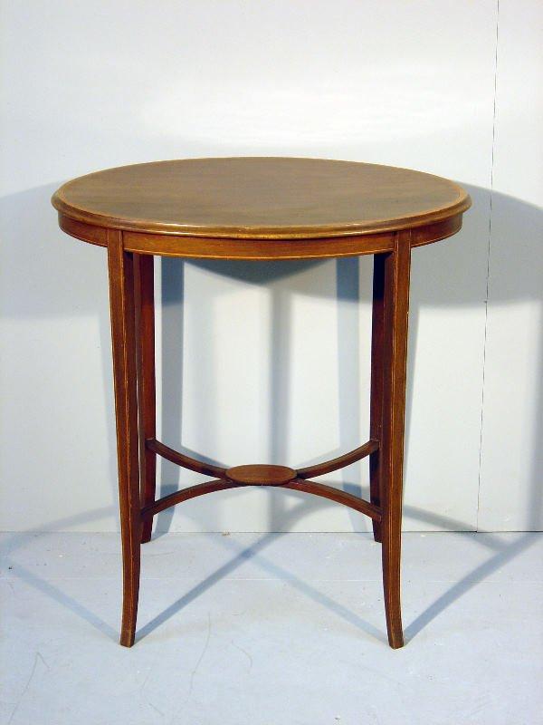 19: Edwardian mahogany satinwood banded and boxwood and