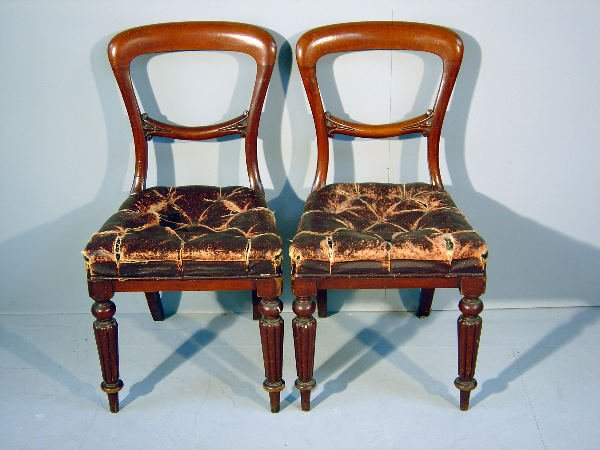 20: Set of five mid-19th century mahogany open back din