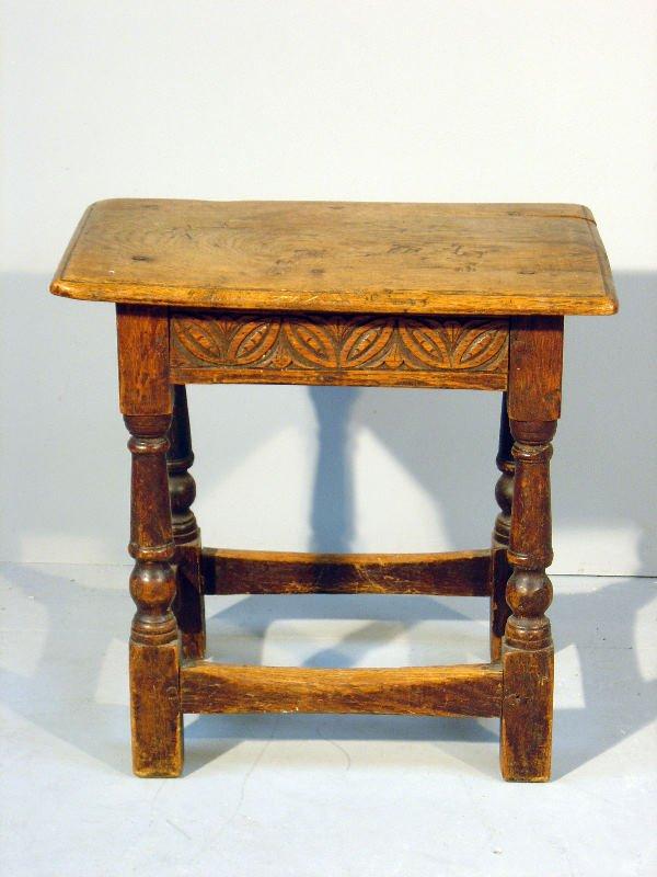 22: 19th century oak joynt stool with carved frieze on