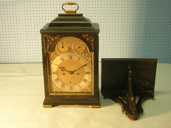 236: Late 18th century ebonised bracket clock with bras