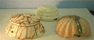 253 Three Art Deco glass lampshades one in the form o