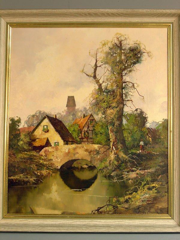 701: Ludwig Klein: Landscape with stream, bridge and fi