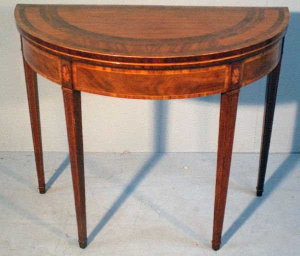 6: George III demi-lune mahogany card table,