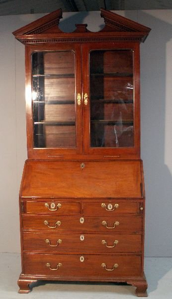 10: George III mahogany bureau bookcase the top