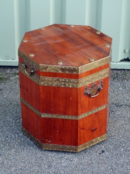20: Octagonal walnut and brass bound wine cooler