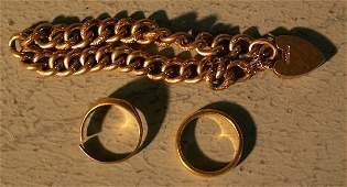 798: Bracelet and two rings