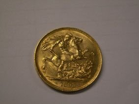 804: Victorian gold two pound coin 1893 - 2