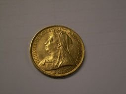 804: Victorian gold two pound coin 1893 - 3