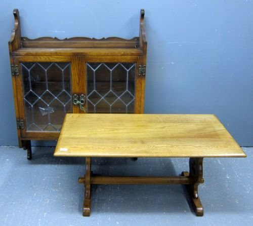 """Oak coffee table, 20"""""""" high and an oak wall hanging cab"""