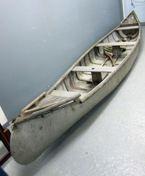 """French 1960's aluminium canoe, 176"""""""" long"""