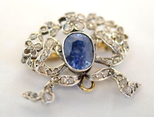 Antique diamond and sapphire brooch