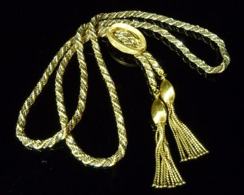 18 ct yellow and white gold rope style chatelaine chain