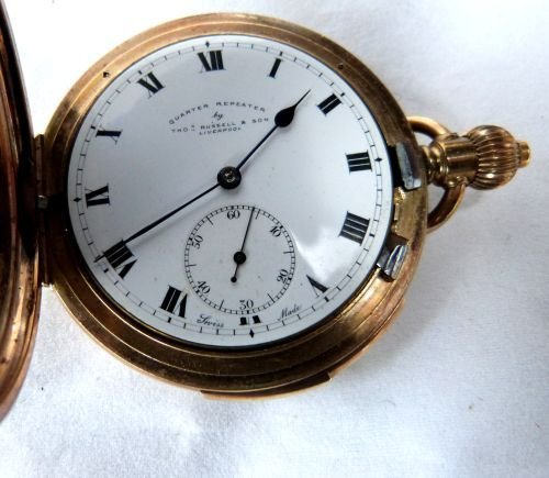 Gold plated quarter repeating pocket watch, by Thomas R