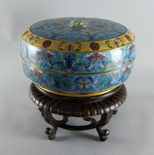 Large Chinese cloisonne bowl and cover, set with jade c