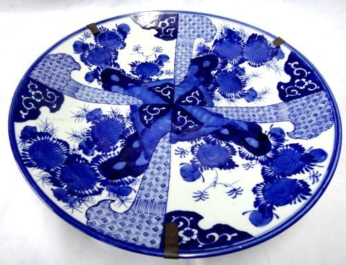 Large Japanese blue and white dish decorated with four