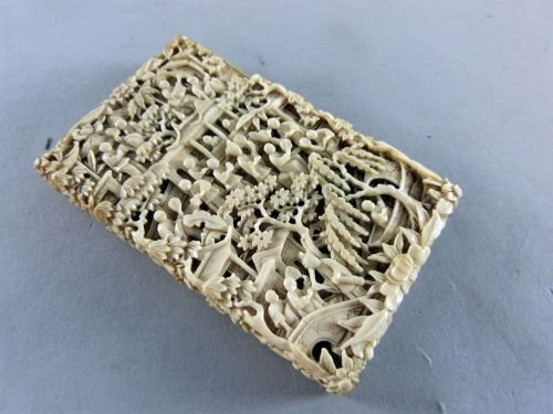 Chinese ivory Canton card case, carved with many figure