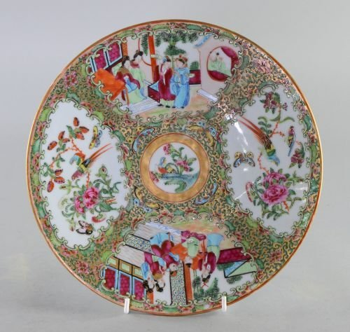Chinese Canton plate decorated with birds, flowers and
