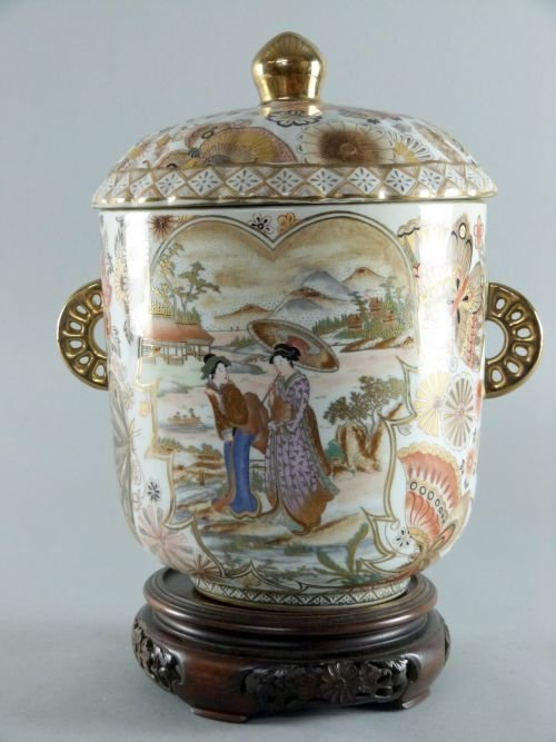 Japanese twin handled Satsuma vase and cover decorated