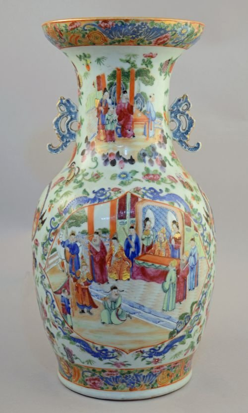 19th century Chinese Canton famille rose baluster vase