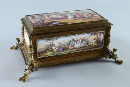 19th century French gilt metal and enamelled table top