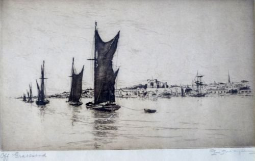 S.G. Rowles - etching, pilot ship leaving Dover harbour - 2