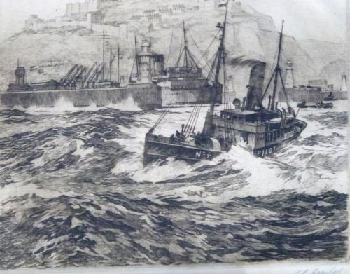S.G. Rowles - etching, pilot ship leaving Dover harbour - 4