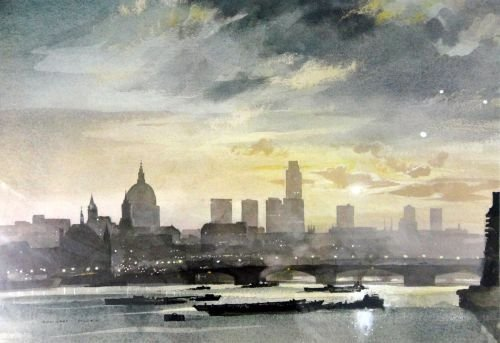 Rowland Hilder, 'City at dawn' lithographic reproductio