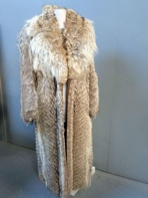 Maxi fur coat by Penizek & Rainer New York. Mottled 'wo