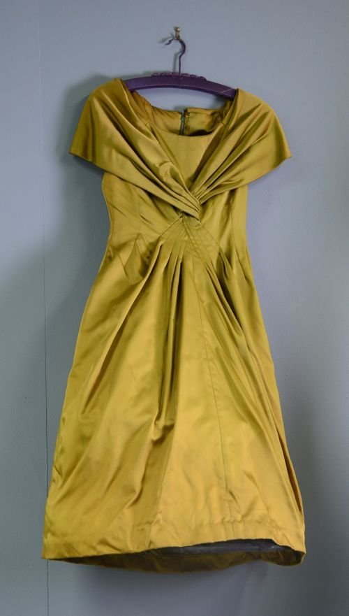 Frank Usher early 1950s satin olive green dress with de