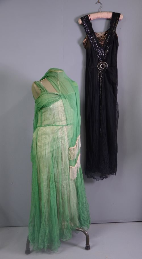 1930's evening dress of fine net with sequined panel an