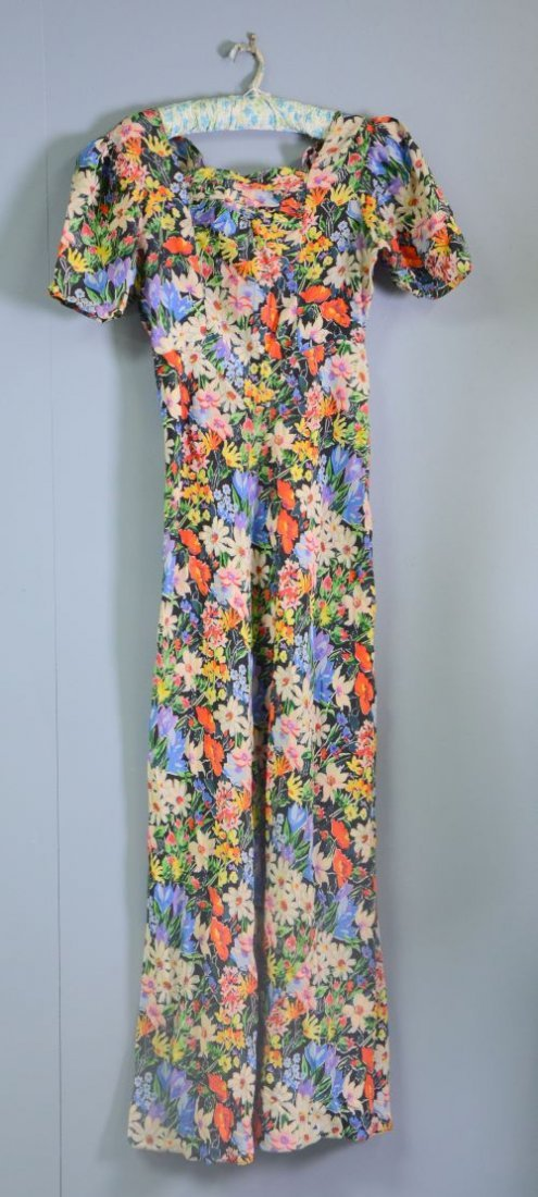 1930's silk evening dress with spring flower print ruch