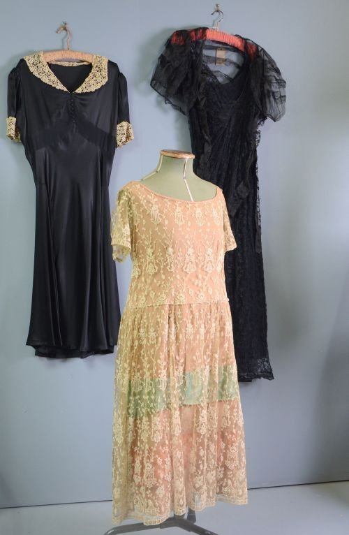 1930's evening dress of black, with separate black slip