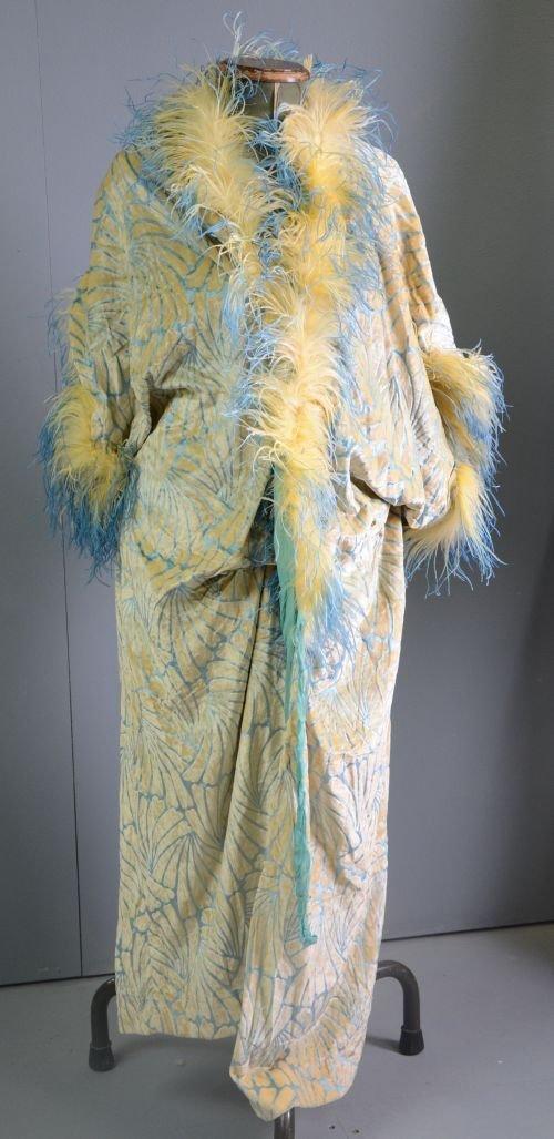 1930's opera coat of cream silk velvet with styalised p