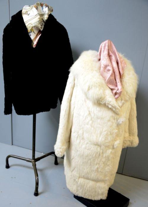 Black beaver jacket circa 1930's and a 1950s white fur