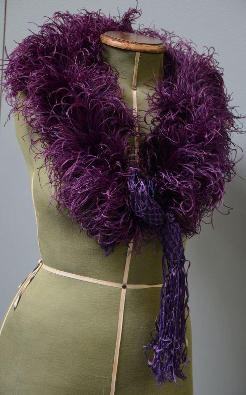1930's purple ostrich feather shrug