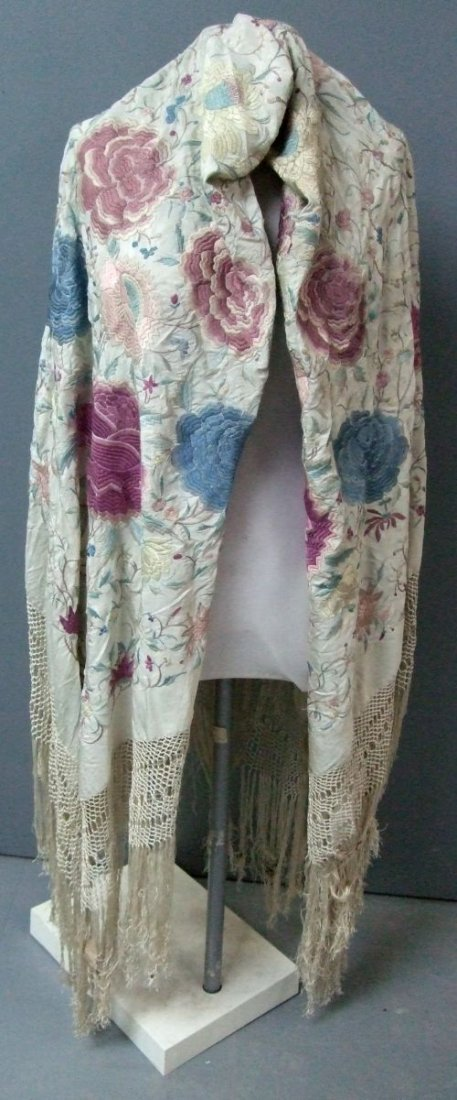 A large Canton Chinese silk piano shawl of cream silk a