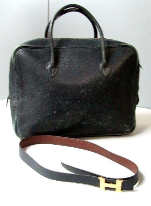 Hermes vintage blue grained leather handbag and blue be