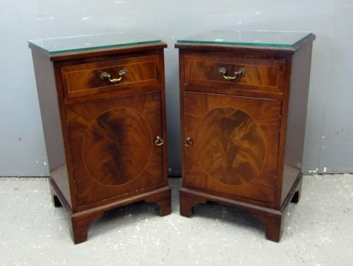 "Pair of mahogany bedside cabinets 27""x16""x13"