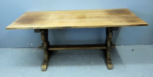Oak refectory type dining table on twin end supports un