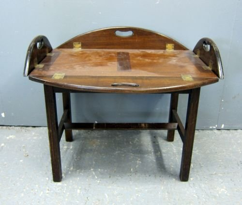 Mahogany oval butler's tray on stand 35""