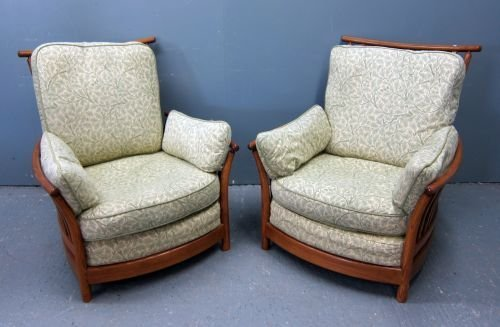 Two Ercol Renaissance style ash framed high back chairs