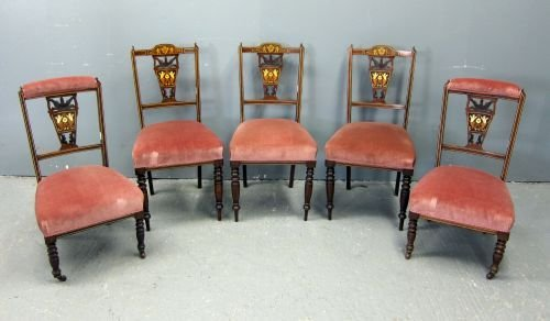 Late Victorian inlaid rosewood part salon suite compris