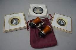 Three Ivory framed miniature portraits including Lola M