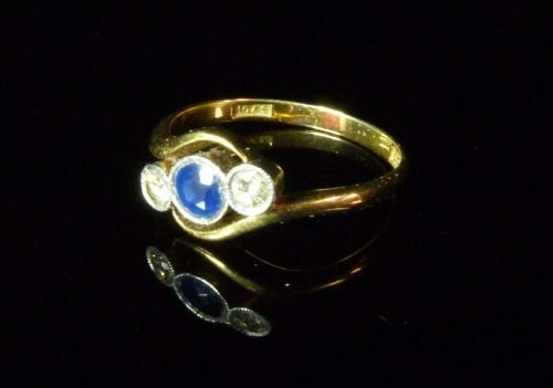 Sapphire and Diamond Three Stone Ring comprising a